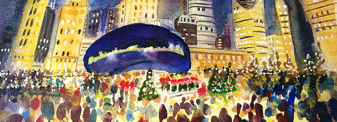 Caroling at the Bean