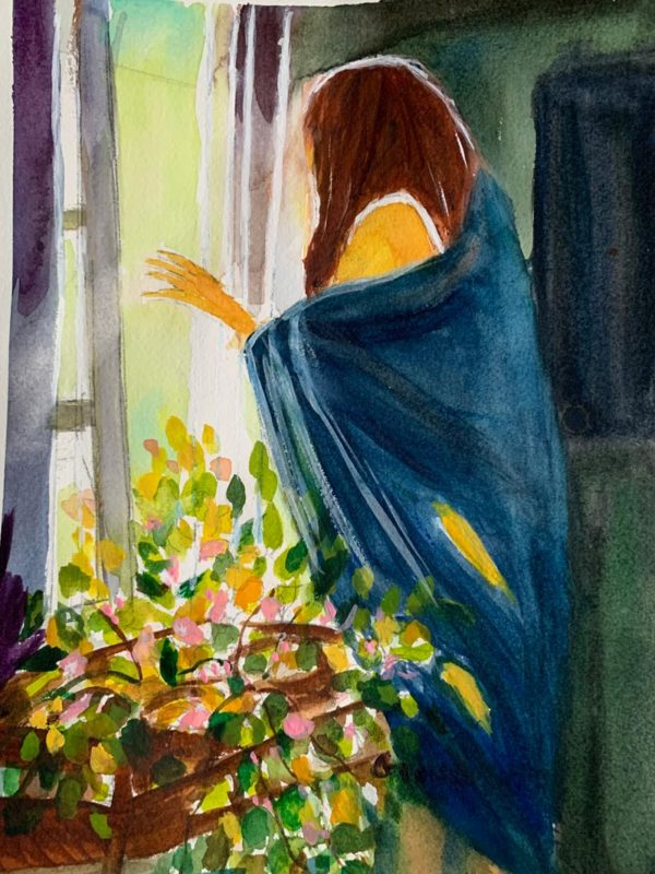 Woman in wrap at window